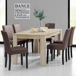 Rustikálny dubový jedálenský stôl so 6 stoličkami - svetlý stôl - hnedé stoličky