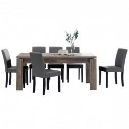 Rustikálny dubový jedálenský stôl so 6 stoličkami - tmavý stôl - tmavo sivé stoličky