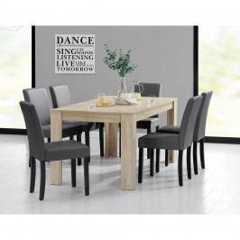 Rustikálny dubový jedálenský stôl so 6 stoličkami - biely stôl - tmavo sivé stoličky