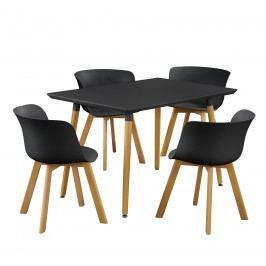 Dizajnový jedálenský stôl - 120 x 70 cm - čierny so 4 čiernymi stoličkami