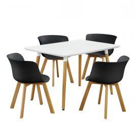 Dizajnový jedálenský stôl - 120 x 70 cm - biely so 4 čiernymi stoličkami