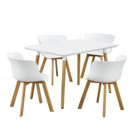 Dizajnový jedálenský stôl - 120 x 70 cm - biely so 4 bielymi stoličkami