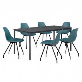 Štýlová dizajnová jedálenská zostava - tmavo sivý stôl - so 6 elegantnými stoličkami - tyrkysovými