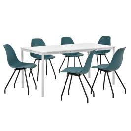 Štýlová dizajnová jedálenská zostava - biely stôl - so 6 elegantnými stoličkami - tyrkysovými