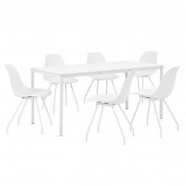 Štýlová dizajnová jedálenská zostava - biely stôl - so 6 elegantnými stoličkami - bielymi