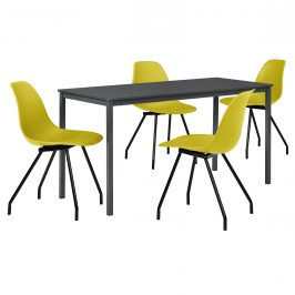 Štýlová dizajnová jedálenská zostava - tmavo sivý stôl - so 4 elegantnými stoličkami - horčicovo žltými