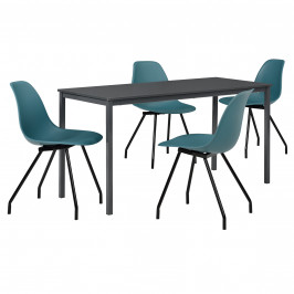 Štýlová dizajnová jedálenská zostava - tmavo sivý stôl - so 4 elegantnými stoličkami - tyrkysovými