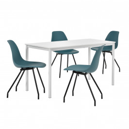 Štýlová dizajnová jedálenská zostava - biely stôl - so 4 elegantnými stoličkami - tyrkysovými