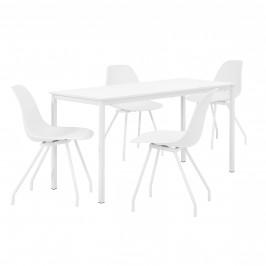 Štýlová dizajnová jedálenská zostava - biely stôl - so 4 elegantnými stoličkami - bielymi