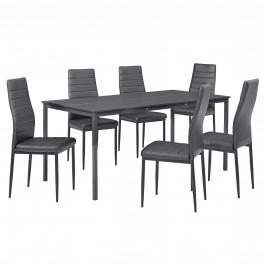 Štýlový dizajnový jedálenský stôl (160 x 80 cm) - so 6 elegantnými stoličkami (tmavo sivé)