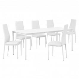 Štýlový dizajnový jedálenský stôl (180 x 80 cm) - so 6 elegantnými stoličkami (biele)