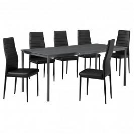 Štýlový dizajnový jedálenský stôl (180 x 80 cm) - so 6 elegantnými stoličkami (čierne)