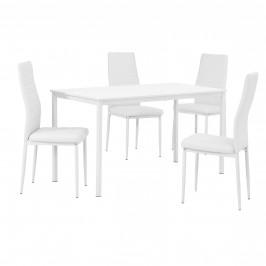 Štýlový dizajnový jedálenský stôl (140 x 60 cm) - so 4 elegantnými stoličkami (biele)