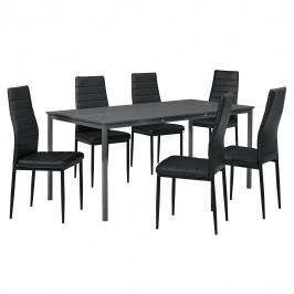 Štýlový dizajnový jedálenský stôl (160 x 80 cm) - so 6 elegantnými stoličkami (čierne)