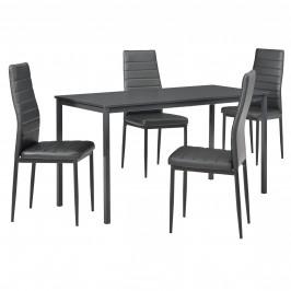 Štýlový dizajnový jedálenský stôl (140 x 60 cm) - so 4 elegantnými stoličkami (tmavo sivé)