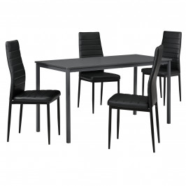Štýlový dizajnový jedálenský stôl (140 x 60 cm) - so 4 elegantnými stoličkami (čierne)