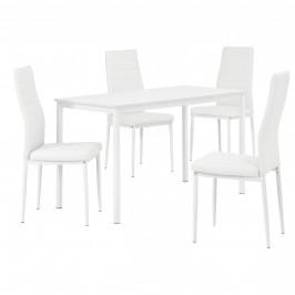 Štýlový dizajnový jedálenský stôl (120 x 60 cm) - so 4 elegantnými stoličkami (biele)