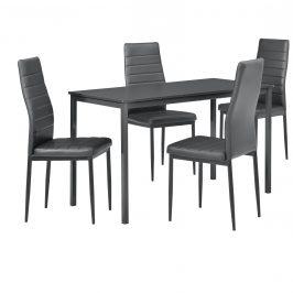 Štýlový dizajnový jedálenský stôl (120 x 60 cm) - so 4 elegantnými stoličkami (tmavo sivé)