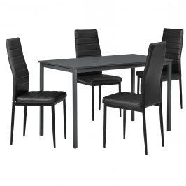 Štýlový dizajnový jedálenský stôl (120 x 60 cm) - so 4 elegantnými stoličkami (čierne)