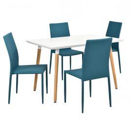 Dizajnový jedálenský stôl - 120 x 70 cm - so 4 tyrkysovými stoličkami