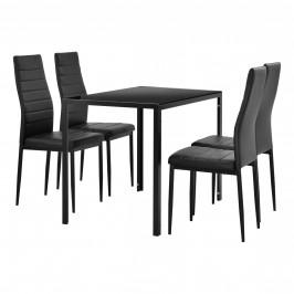 Štýlový dizajnový jedálenský stôl - čierny sklenený stôl s čiernymi stoličkami