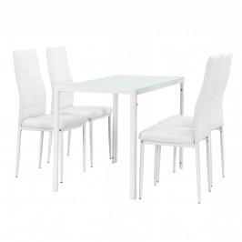 Štýlový dizajnový jedálenský stôl - biely sklenený stôl s bielymi stoličkami
