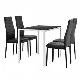 Štýlový dizajnový jedálenský stôl - biely sklenený stôl s čiernymi stoličkami