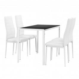 Štýlový dizajnový jedálenský stôl - čierny sklenený stôl s bielymi stoličkami