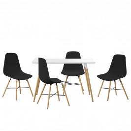 Dizajnová jedálenská zostava - stôl so 4 stoličkami - čierna