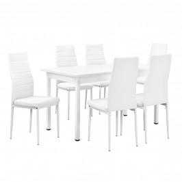 Štýlový moderný jedálenský stôl so 6 stoličkami - biely