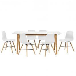 Dizajnový bambusový jedálenský stôl so 6 bielymi stoličkami