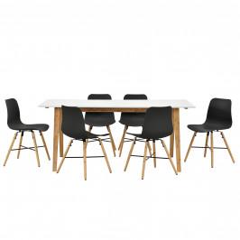 Dizajnový bambusový jedálenský stôl so 6 čiernymi stoličkami