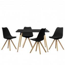 Dizajnový jedálenský stôl - 120 x 70 cm - čierny a 4 čierne stoličky