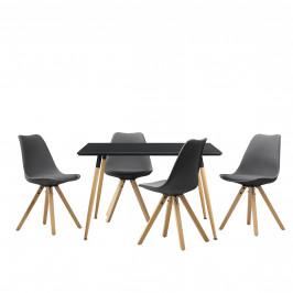 Dizajnový jedálenský stôl - 120 x 70 cm - čierny a 4 sivé stoličky