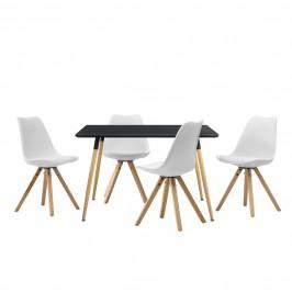 Dizajnový jedálenský stôl - 120 x 70 cm - čierny a 4 biele stoličky