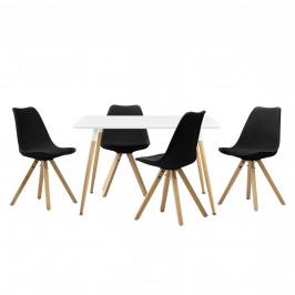 Dizajnový jedálenský stôl - 120 x 70 cm - biely a 4 čierne stoličky