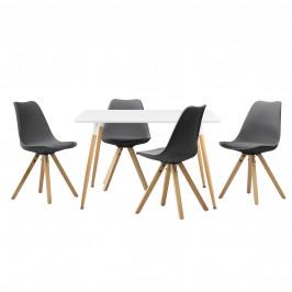 Dizajnový jedálenský stôl - 120 x 70 cm - biely a 4 sivé stoličky