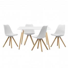 Dizajnový jedálenský stôl - 120 x 70 cm - biely a 4 biele stoličky
