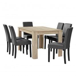 Elegantný dubový jedálenský stôl - 140 x 90 cm - so 6 stoličkami
