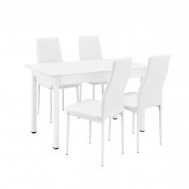 Štýlový dizajnový jedálenský stôl so 4 stoličkami - 120 cm x 60 cm x 75 cm - biely