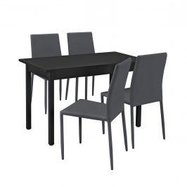 Štýlový dizajnový jedálenský stôl so 4 stoličkami - 120 cm x 60 cm x 75 cm - tmavo sivý