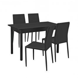 Štýlový dizajnový jedálenský stôl so 4 stoličkami -  120 cm x 60 cm x 75 cm - čierny