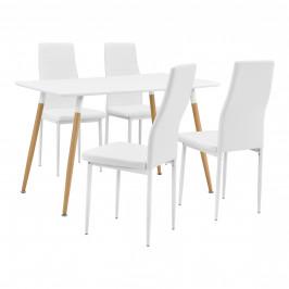 Dizajnový jedálenský stôl so stoličkami - 120 x 70 x 75 cm - biela