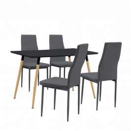 Dizajnový jedálenský stôl so stoličkami - 120 x 70 x 75 cm - čierna