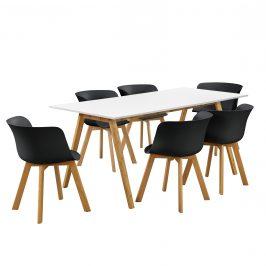 Dizajnový bambusový jedálenský stôl - 180 x 80 cm - biely - so 6 čiernymi stoličkami