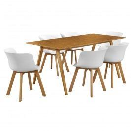 Dizajnový bambusový jedálenský stôl - 180 x 80 cm - bambus - so 6 bielymi stoličkami