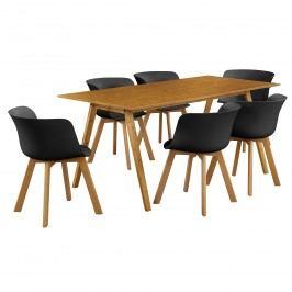 Dizajnový bambusový jedálenský stôl - 180 x 80 cm - bambus - so 6 čiernymi stoličkami