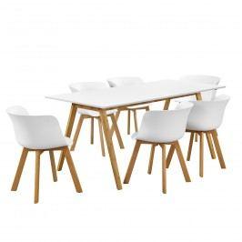 Dizajnový bambusový jedálenský stôl - 180 x 80 cm - biely - so 6 bielymi stoličkami