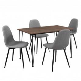 Elegantný dizajnový jedálenský stôl a 4 stoličky - sivý a farba dreva