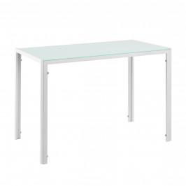 Štýlový dizajnový jedálenský stôl - sklenený stôl - 105 x 60 x 75 cm - biely